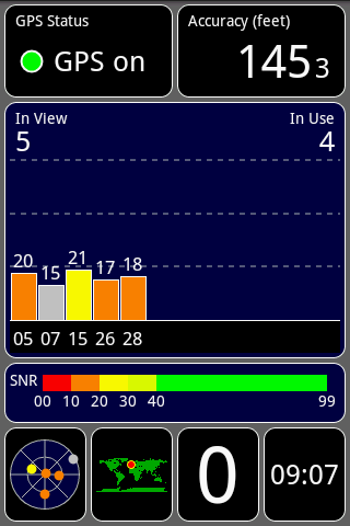 App For Android Phones Gps Test Has Five Screens To Display Various Information