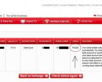 Airtel Recharge Failed Transaction Status