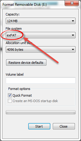 Format Pendrive with exFAT file system
