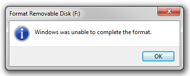 unable to format pen drive windows