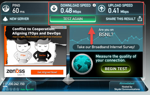 speedtest.net-bsnl-speed