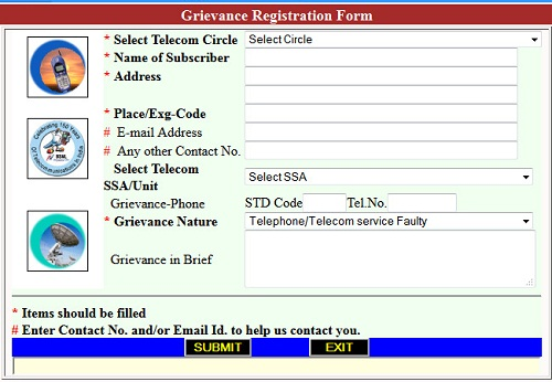BSNL-Grievance-Registration-Form
