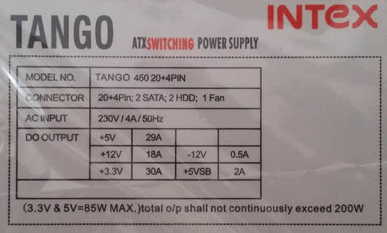 Intex SMPS Techno 450 20+4PIN Review & Specifications